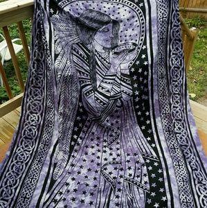 Large Vintage Purple Tie Dye Bohemian Tapestry